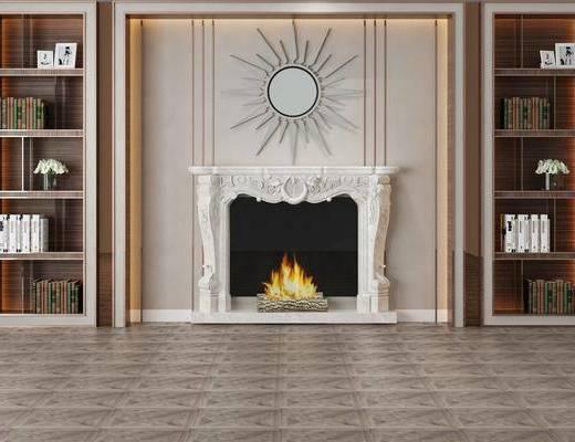 壁炉, 置物柜, 背景墙, 装饰柜架