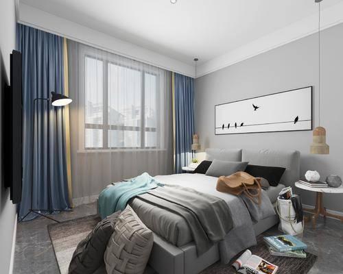 卧室, 床具组合, 现代卧室, 挂画
