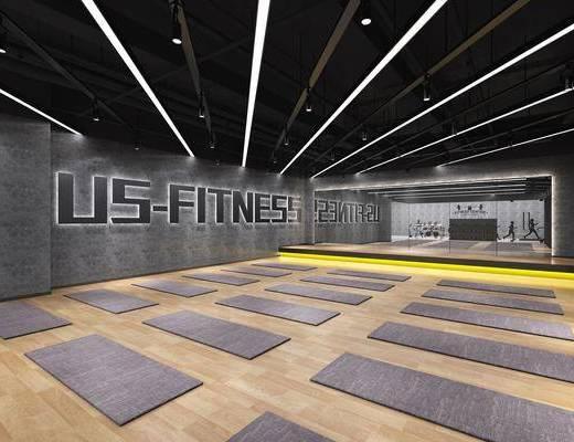 瑜伽室, 健身房, 操房, 瑜伽垫, 舞蹈房, 现代