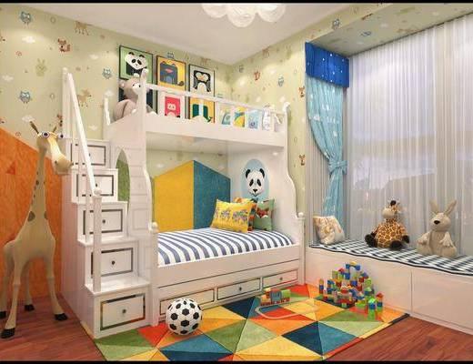 儿童房, 上下床, 玩具, 装饰画, 挂画, 装饰品, 陈设品, 吊灯, 墙饰, 现代