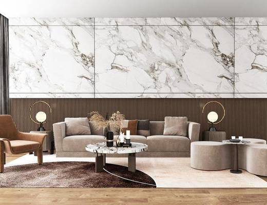 现代客厅, 轻奢客厅, 沙发, 茶几
