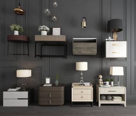 床头柜, 现代床头柜, 台灯, 摆件组合