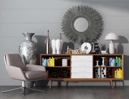 电视柜, 边柜, 陈设品, 摆件, 花瓶, 椅子