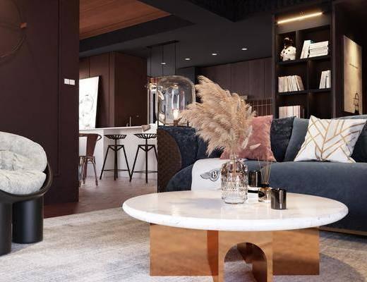 现代轻奢客餐厅, 沙发, 茶几, 餐桌椅, 摆件