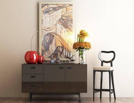 边柜, 装饰柜, 摆件, 吧椅, 休闲椅, 花瓶, 花卉, 挂画, 北欧