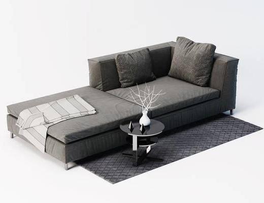 贵妃椅, 休闲椅, 单人沙发, 边几, 摆件, 地毯