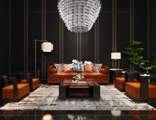 沙发组合, 沙发茶几组合, 单人沙发, 双人沙发, 吊灯, 盆栽, 落地灯, 台灯, 地毯, 新中式, 中式
