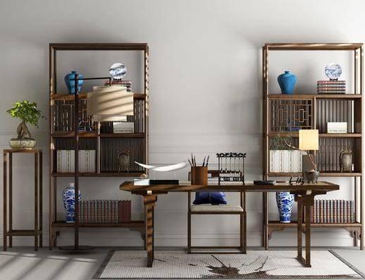 书房, 装饰架, 装饰柜, 单人椅, 盆栽, 摆件, 装饰品, 陈设品, 中式