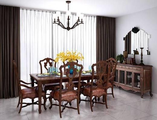 美式, 餐桌, 椅子, 桌子, 单椅, 花瓶, 摆件, 餐具, 陈设品, 装饰品, 餐边柜, 装饰柜, 装饰镜, 吊灯