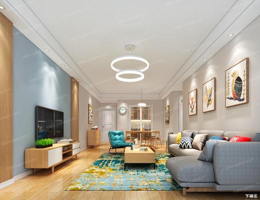 客厅, 沙发组合, 沙发茶几组合, 多人沙发, 电视柜, 茶几