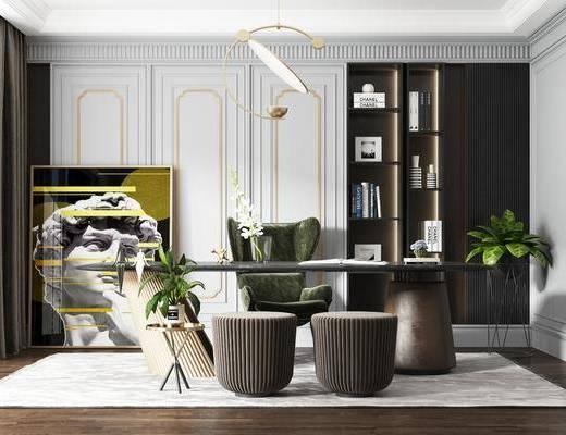 书桌, 桌椅组合, 吊灯, 装饰画, 书籍, 书柜, 背景墙