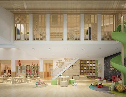 幼儿园, 活动室, 桌子, 滑滑梯, 玩具, 玩偶, 书柜, 书籍, 现代