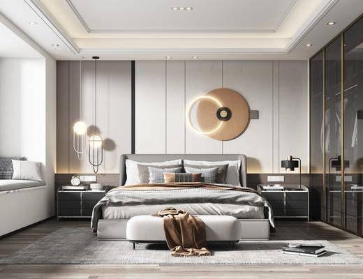双人床, 墙饰, 衣柜, 床头柜, 吊灯