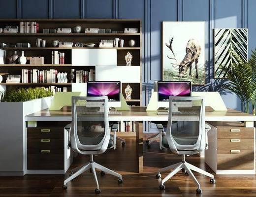 办公桌, 桌椅组合, 书柜, 装饰画, 电脑桌, 盆栽