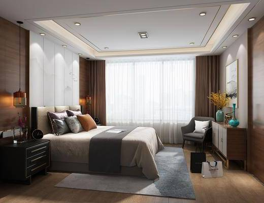 现代, 新中式, 卧室, 新中式卧室, 床具组合, 双人床, 装饰柜, 花瓶花卉, 吊灯, 单椅