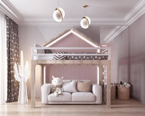 单人床, 吊灯, 沙发组合