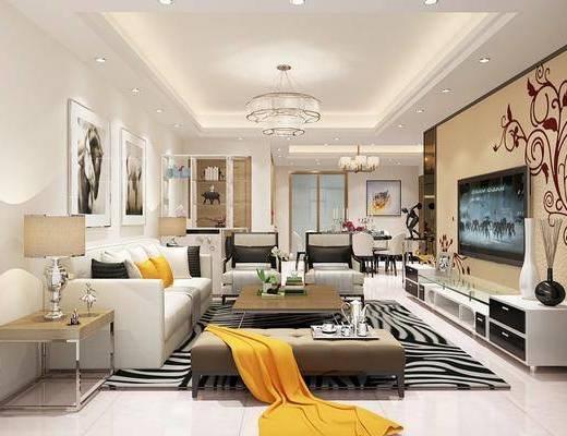 現代客廳, 客廳, 餐廳, 餐桌椅, 沙發組合, 臥室, 雙人床