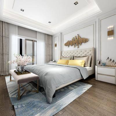 卧室, 床具, 双人床, 床头柜, 台灯, 壁灯, 墙饰, 床尾蹋, 花瓶, 花卉, 摆件, 装饰品, 现代, 地毯