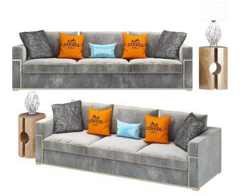 现代, 多人沙发, 布艺沙发, 沙发, 边几, 陈设品