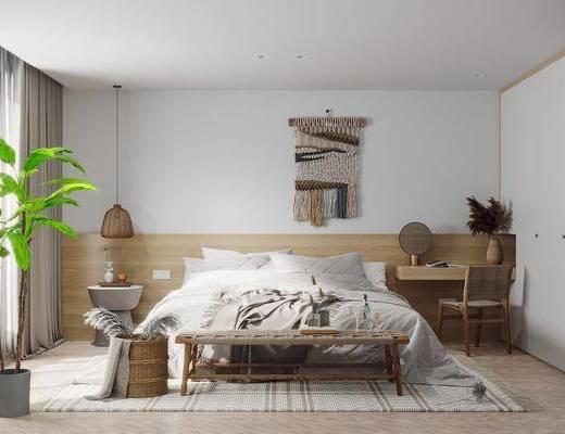 卧室, 北欧, 双人床, 墙饰, 吊灯