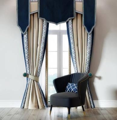 单人沙发, 窗帘组合, 新古典