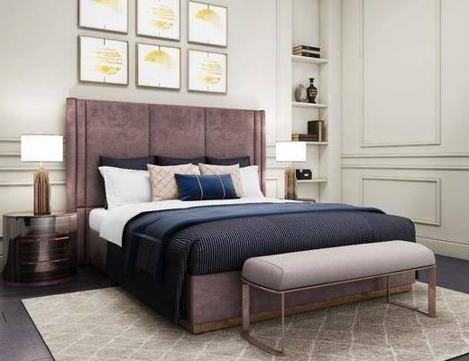 床具组合, 床尾踏, 现代床具组合, 床头柜, 台灯, 挂画, 置物柜, 摆件, 装饰品, 现代