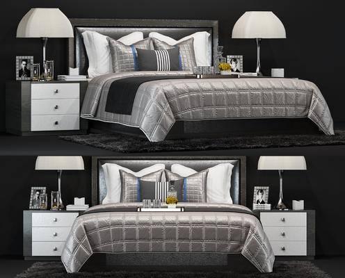 现代, 双人床, 床头柜, 台灯, 陈设品