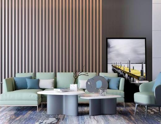 现代, 多人沙发, 椅子, 茶几