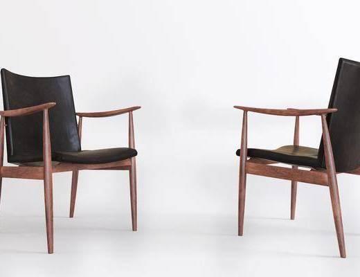 單椅, 現代單椅, 實木