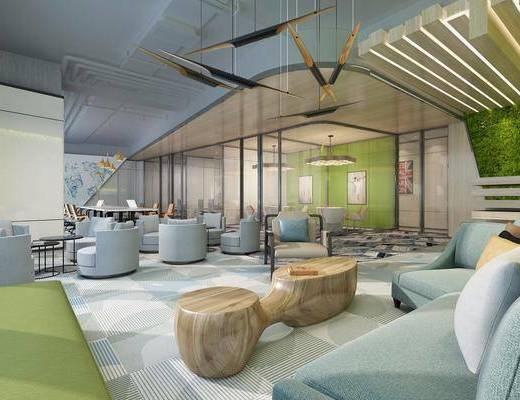 办公室, 单人沙发, 办公桌, 办公椅, 单人椅, 茶几, 吊灯, 装饰画, 挂画, 现代简约