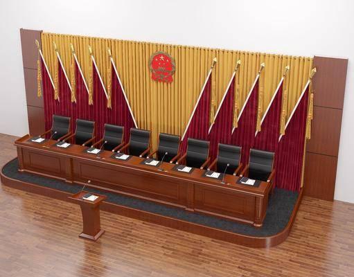 红旗, 国徽, 背景, 讲台, 发言台, 地台, 主席台桌椅