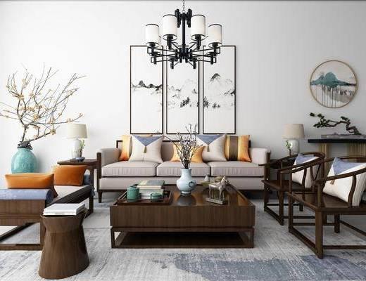 沙发组合, 多人沙发, 茶几, 单人椅, 躺椅, 花瓶花卉, 装饰画, 挂画, 风景画, 组合画, 圆框画, 边几, 盆景, 绿植, 装饰品, 吊灯, 新中式