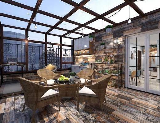 阳光房, 阳光露台, 桌椅组合, 装饰架组合, 植物墙组合, 现代