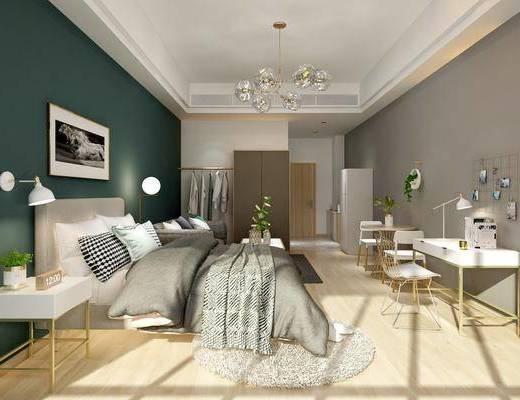 卧室, 双人床, ?#39184;?#26588;, 壁灯, 装饰画, 台灯, 单人椅, 书桌, 桌子, 多人沙发, 冰箱, 休闲椅, 盆栽, 绿植植物, 挂画, 北欧