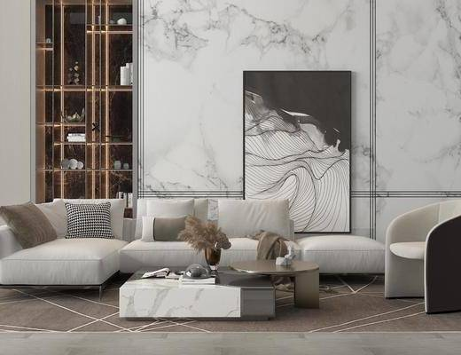 现代, 多人沙发, 单人沙发, 茶几, 地毯, 摆画