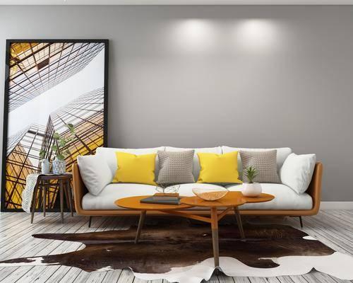 三人沙发, 沙发茶几组合, 沙发组合, 现代沙发, 装饰画, 北欧