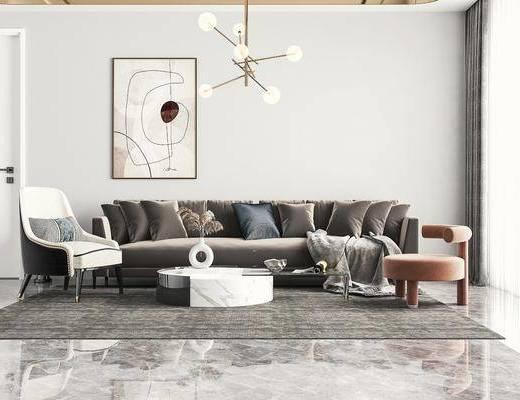 现代, 多人沙发, 边几, 单椅