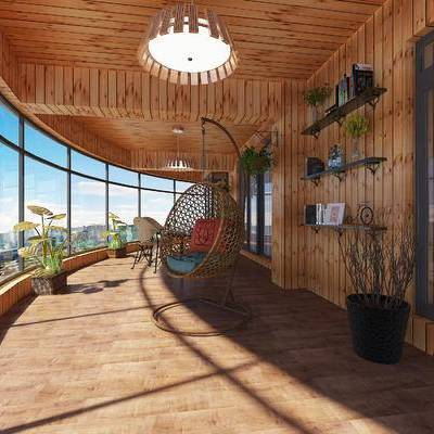 现代, 露台, 阳台, 吊椅, 装饰架, 置物架, 盆栽, 植物
