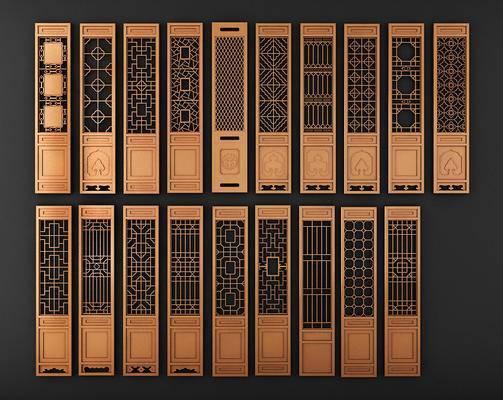 古典中式屏风门, 中式花格, 隔断