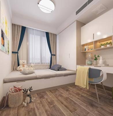 现代卧室, 儿童房, 儿童床