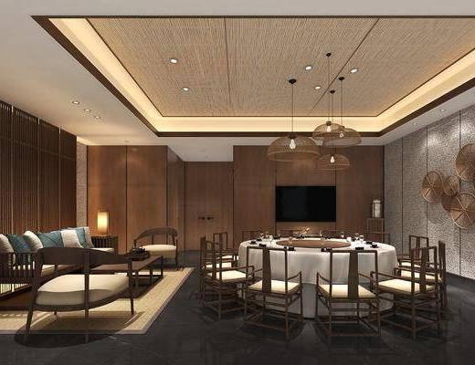 ?#39057;?#21253;厢, 餐桌, 餐椅, 单人椅, 吊灯, 多人沙发, 边几, 墙饰, 台灯, 茶几, 装饰品, 陈设品, 装饰架, 新中式