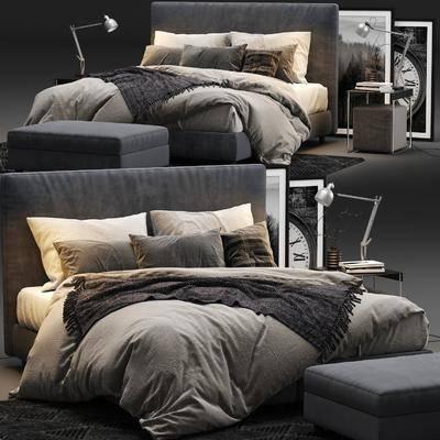 双人床, 床具组合, 床, 床尾凳, 床头柜, 装饰画, 挂画, 台灯