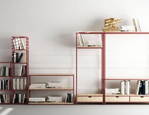 书架, 书柜, 装饰柜, 书籍, 装饰品, 摆件, 北欧