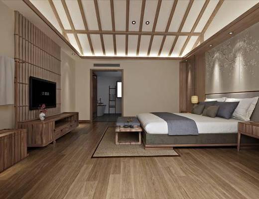 民宿客房, 双人床, 床尾凳, 电视柜, 边柜, 床头柜, 吊灯, 浴缸, 新中式