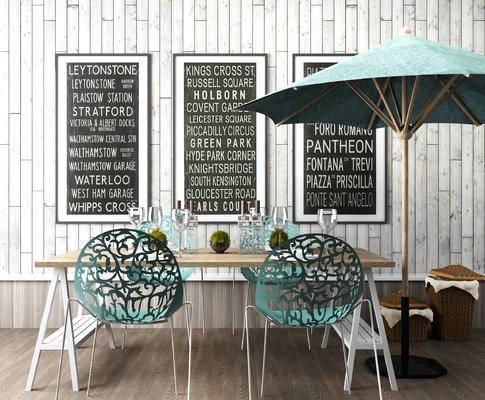 遮阳棚, 桌椅组合, 墙饰