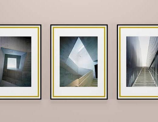 现代建筑结构装饰画, 壁画, 挂画