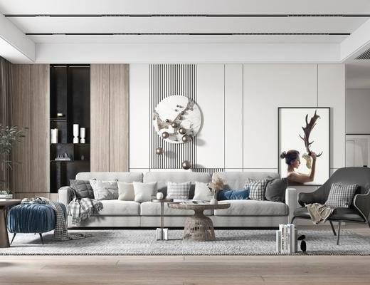 现代简约, 客厅, 多人沙发, 边几, 装饰画, 绿植
