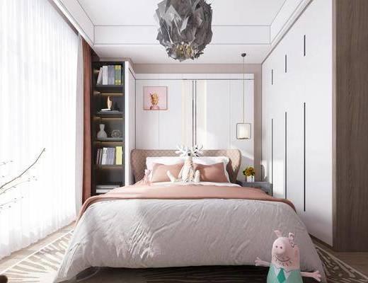卧室, 女孩房, 双人床, 床头柜, 吊灯, 装饰画, 挂画, 装饰柜, 衣柜, 书籍, 摆件, 装饰品, 陈设品, 现代轻奢