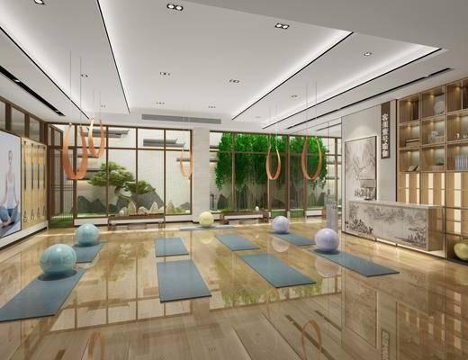 健身室, 瑜伽垫, 前台, 植物