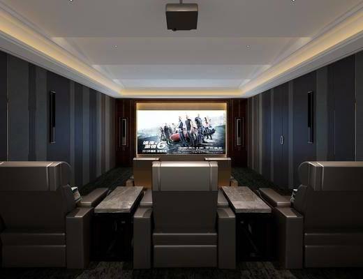 影音室, 单人椅, 壁灯, 单人沙发, 现代简约